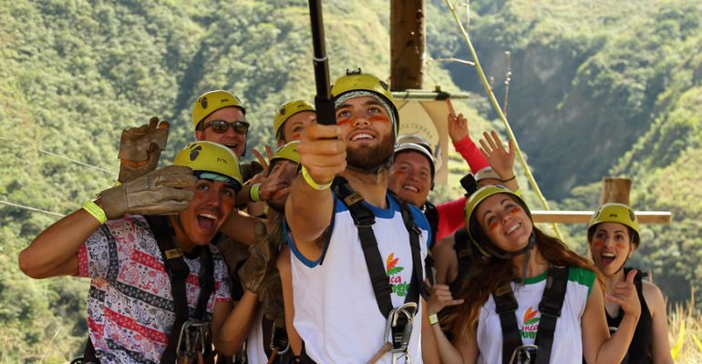 inca jungle zipline group selfie